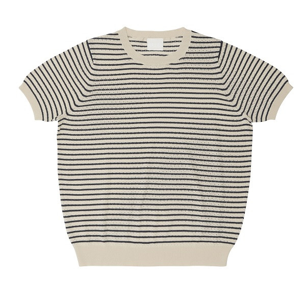 Pointelle T-Shirt, Ecru Navy, FUB Woman