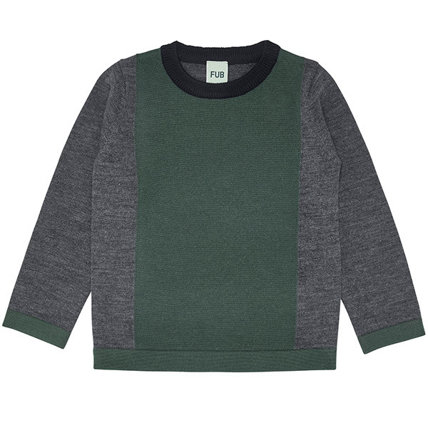 Contrast Blouse, Uld, Grey/Green, FUB