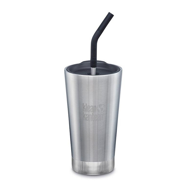 To-Go Termokop m. Sugerør, 473 ml., Brushed Stainless, Klean Kanteen