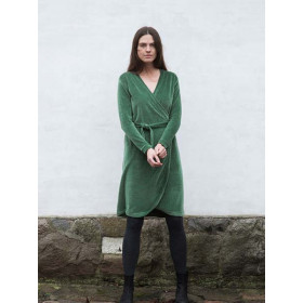 Velour Wrap Dress, Olive, Serendipity Woman