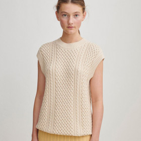 Cable Vest, Ecru, FUB Woman