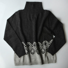 Mønstret Alpaca Sweater, Ida, Charcoal, Esencia Woman