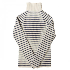 Rib Sweater, Woman, Alpaca, IVORY/NAVY, Esencia