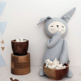 Stor Buddy Bamse, Bunny Light Grey, Fabelab
