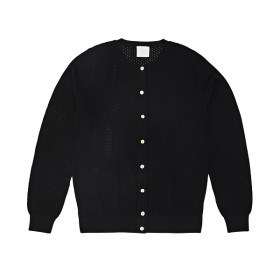 Pointelle Cardigan, Uld, Black, FUB Woman