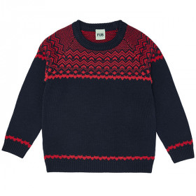 Nordic Sweater, Uld, Navy/Red, FUB