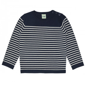 Thin Sweater, Uld, Navy/Ecru, FUB