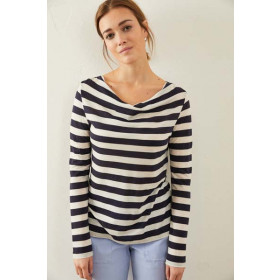 Bluse m. Vandfald, Ink Blue/Off White Strib, Lanius