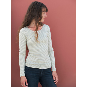 Slim Tee, Sage Strib, Serendipity Woman