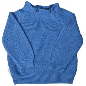 Sweater m. Hulmønster, Blue, Selana