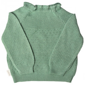 Sweater m. Hulmønster, Green, Selana