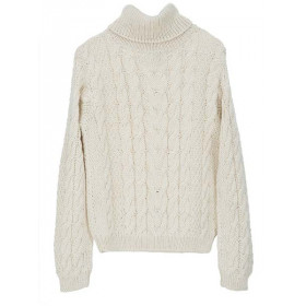 Llama Cable Sweater, Creme, Serendipity Woman