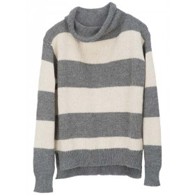 Llama Stripe Sweater, Grå Strib, Serendipity Woman