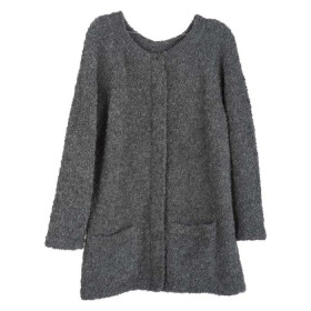 Alpaca Bouclé Long Jacket, Grå, Serendipity Woman
